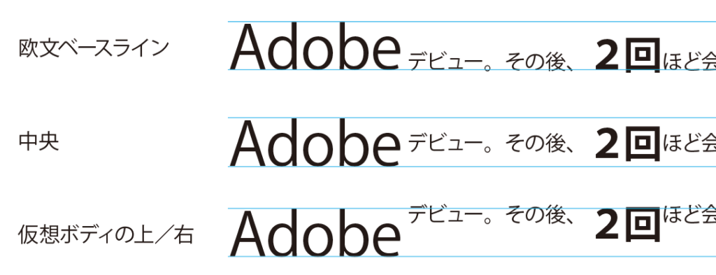 大きい文字を基準に並びます